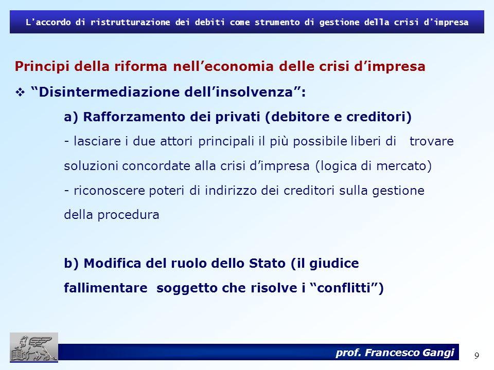 9 Laccordo di ristrutturazione dei debiti come strumento di gestione della crisi dimpresa prof. Francesco Gangi Principi della riforma nelleconomia de