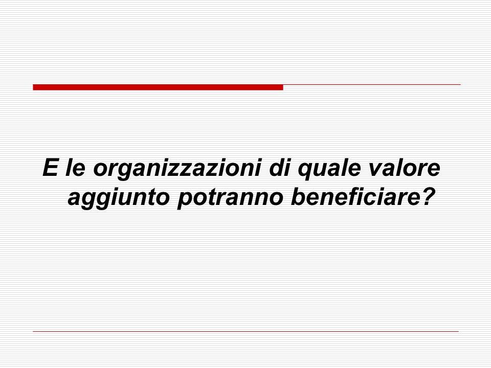 E le organizzazioni di quale valore aggiunto potranno beneficiare?