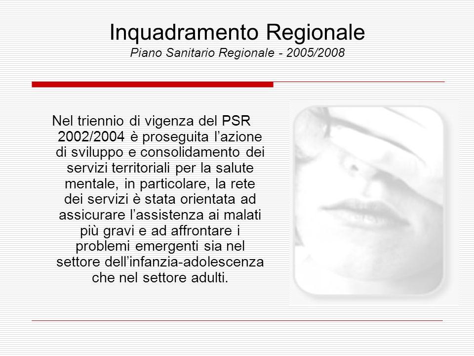 Inquadramento Regionale Piano Sanitario Regionale - 2005/2008 Nel triennio di vigenza del PSR 2002/2004 è proseguita lazione di sviluppo e consolidame