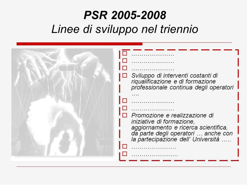PSR 2005-2008 Linee di sviluppo nel triennio ………………… Sviluppo di interventi costanti di riqualificazione e di formazione professionale continua degli