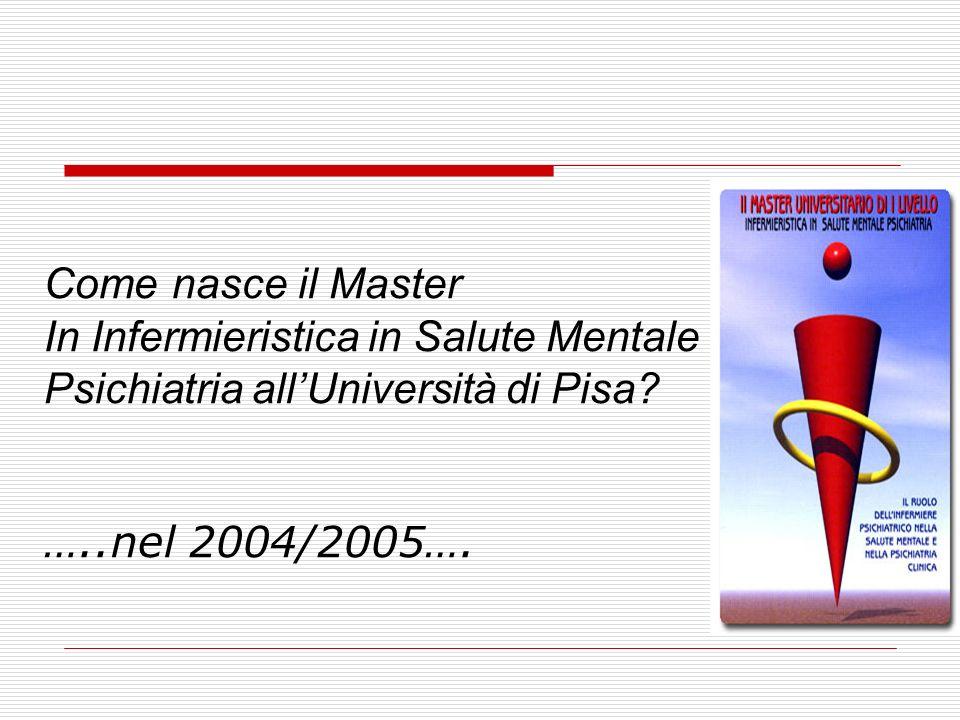 Come nasce il Master In Infermieristica in Salute Mentale Psichiatria allUniversità di Pisa? …..nel 2004/2005….