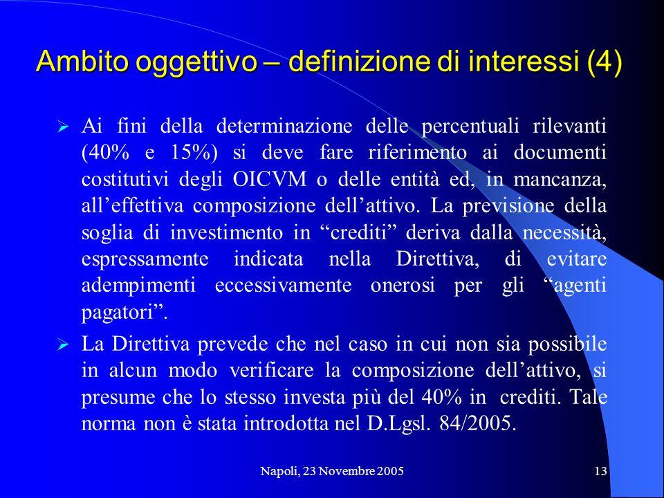 Napoli, 23 Novembre 200513 Ambito oggettivo – definizione di interessi (4) Ai fini della determinazione delle percentuali rilevanti (40% e 15%) si deve fare riferimento ai documenti costitutivi degli OICVM o delle entità ed, in mancanza, alleffettiva composizione dellattivo.