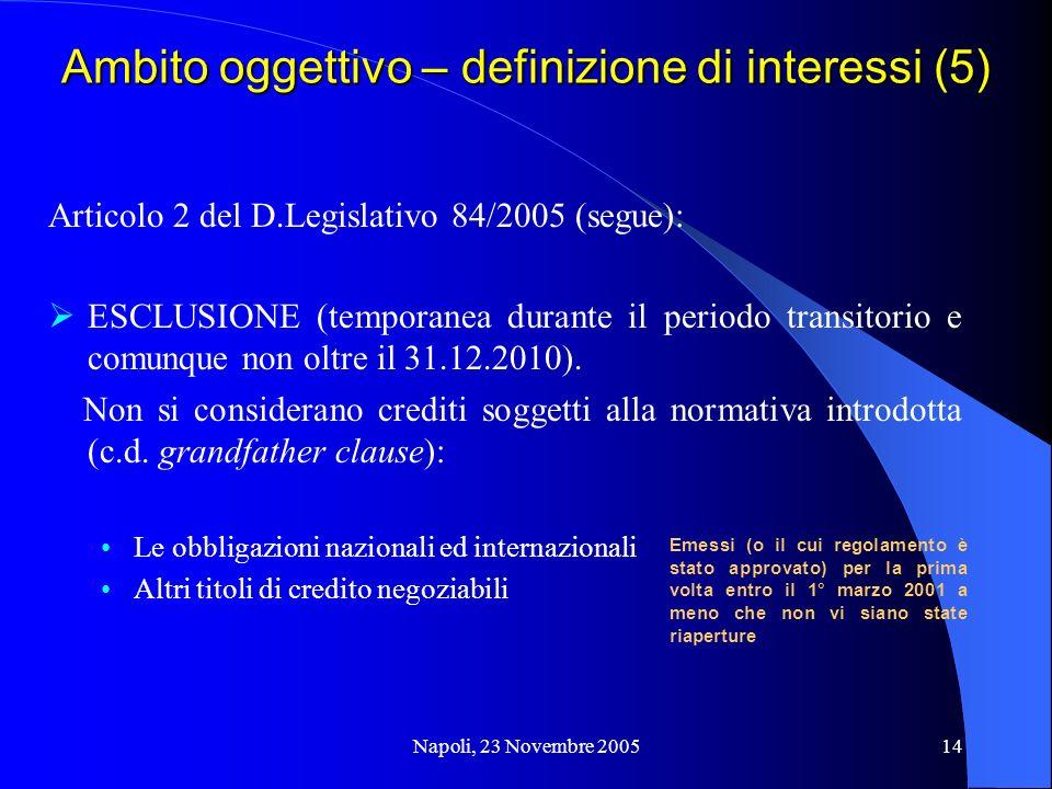 Napoli, 23 Novembre 200514 Ambito oggettivo – definizione di interessi (5) Articolo 2 del D.Legislativo 84/2005 (segue): ESCLUSIONE (temporanea durante il periodo transitorio e comunque non oltre il 31.12.2010).