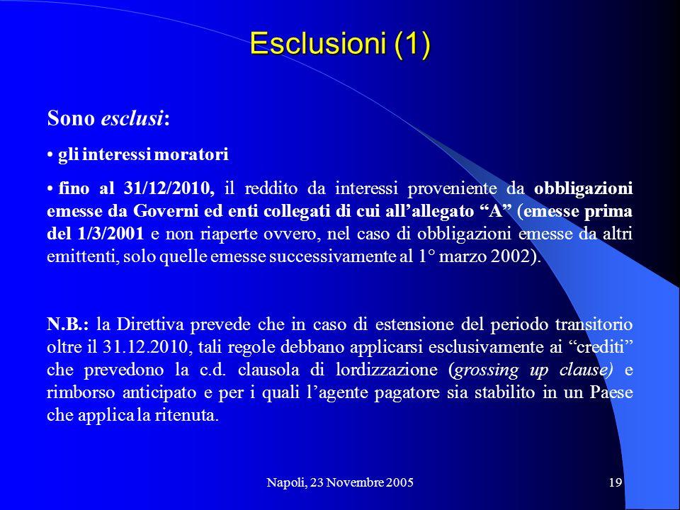 Napoli, 23 Novembre 200519 Esclusioni (1) Sono esclusi: gli interessi moratori fino al 31/12/2010, il reddito da interessi proveniente da obbligazioni