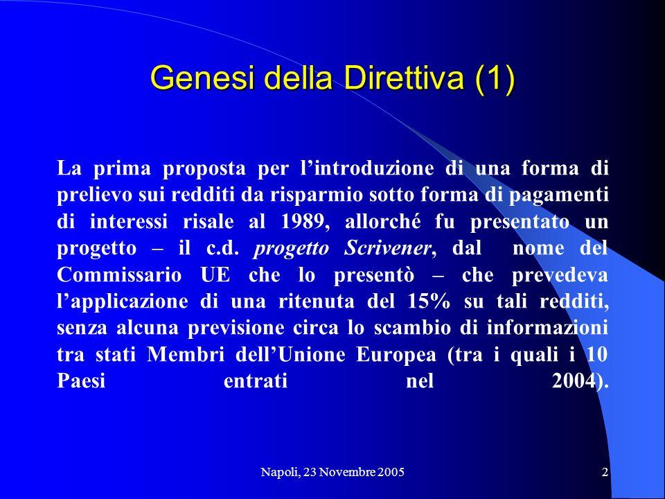 2 Genesi della Direttiva (1) La prima proposta per lintroduzione di una forma di prelievo sui redditi da risparmio sotto forma di pagamenti di interes