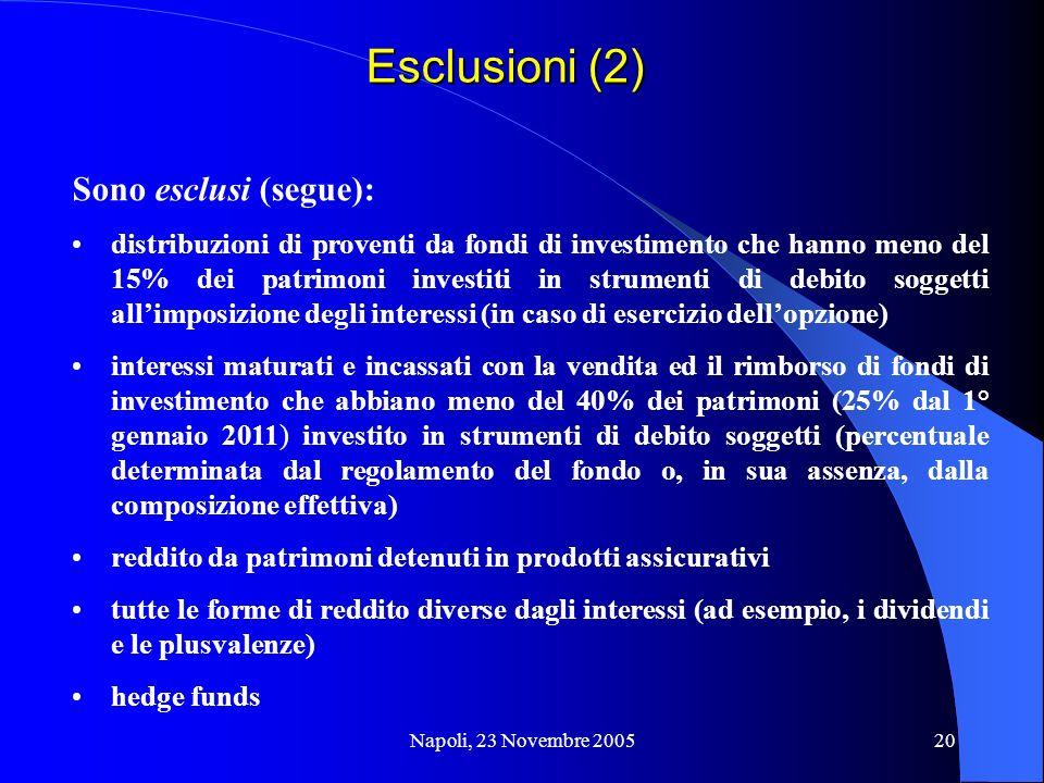 Napoli, 23 Novembre 200520 Esclusioni (2) Sono esclusi (segue): distribuzioni di proventi da fondi di investimento che hanno meno del 15% dei patrimon