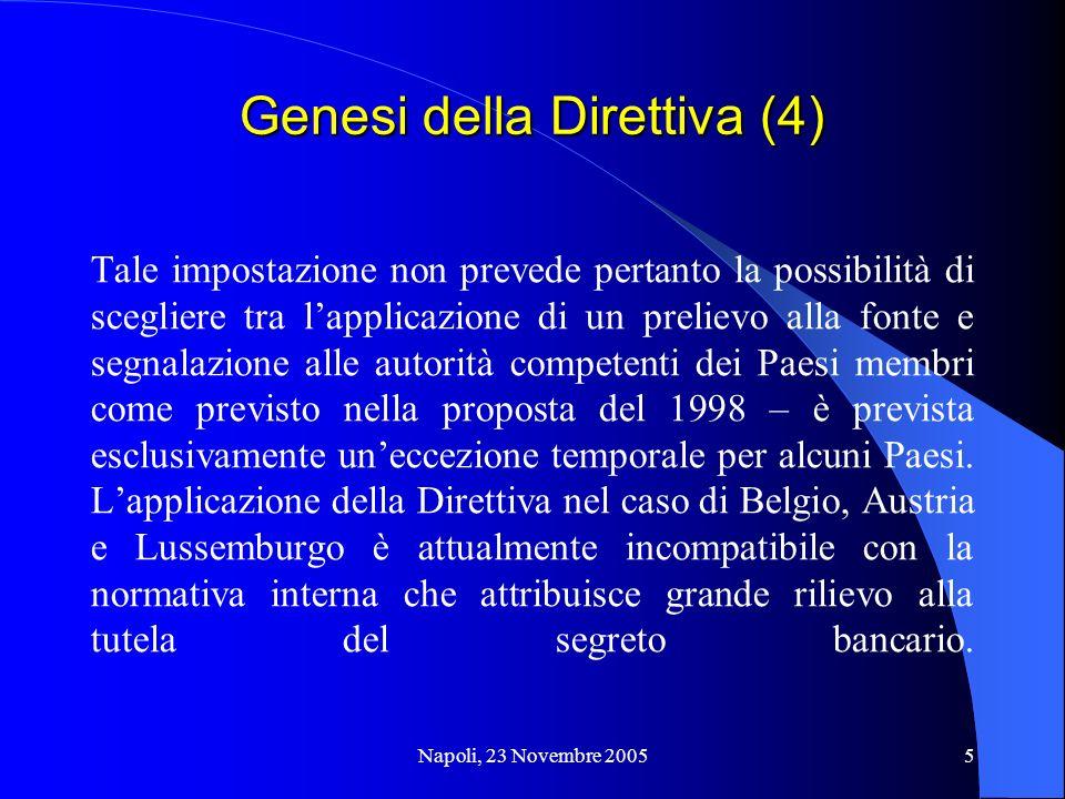Napoli, 23 Novembre 20055 Genesi della Direttiva (4) Tale impostazione non prevede pertanto la possibilità di scegliere tra lapplicazione di un prelie