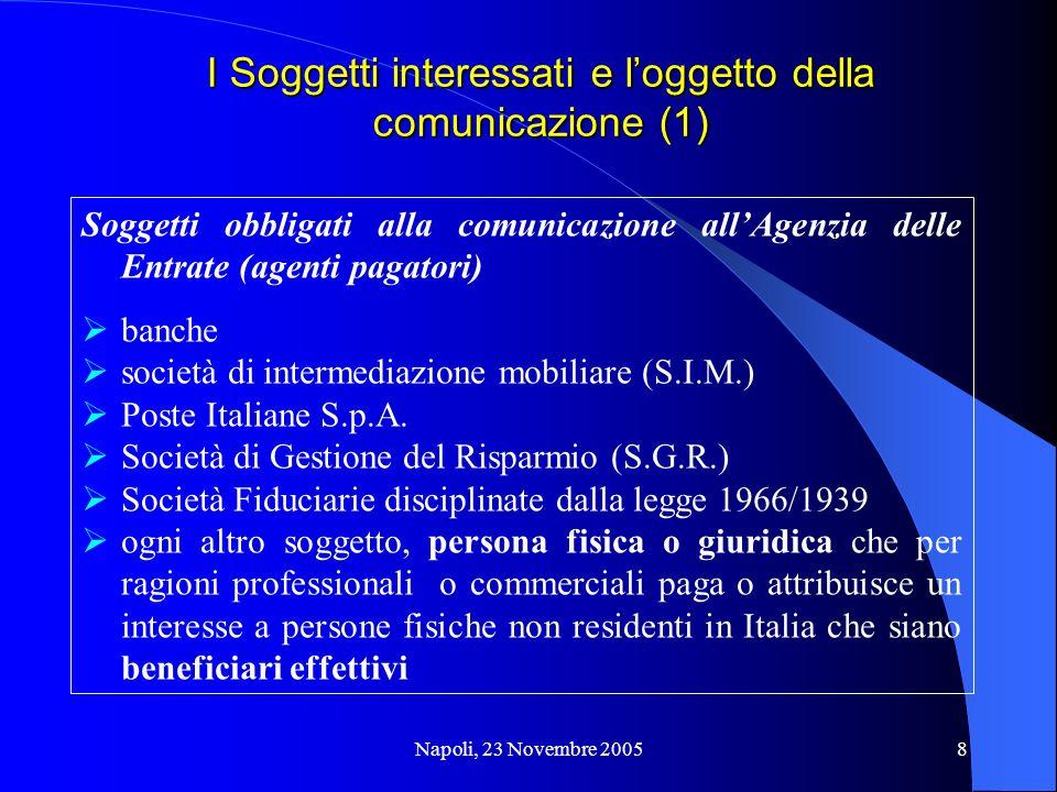 Napoli, 23 Novembre 20058 I Soggetti interessati e loggetto della comunicazione (1) Soggetti obbligati alla comunicazione allAgenzia delle Entrate (agenti pagatori) banche società di intermediazione mobiliare (S.I.M.) Poste Italiane S.p.A.