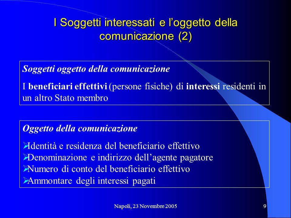 Napoli, 23 Novembre 20059 I Soggetti interessati e loggetto della comunicazione (2) Soggetti oggetto della comunicazione I beneficiari effettivi (pers