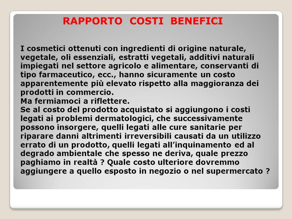 RAPPORTO COSTI BENEFICI I cosmetici ottenuti con ingredienti di origine naturale, vegetale, oli essenziali, estratti vegetali, additivi naturali impie