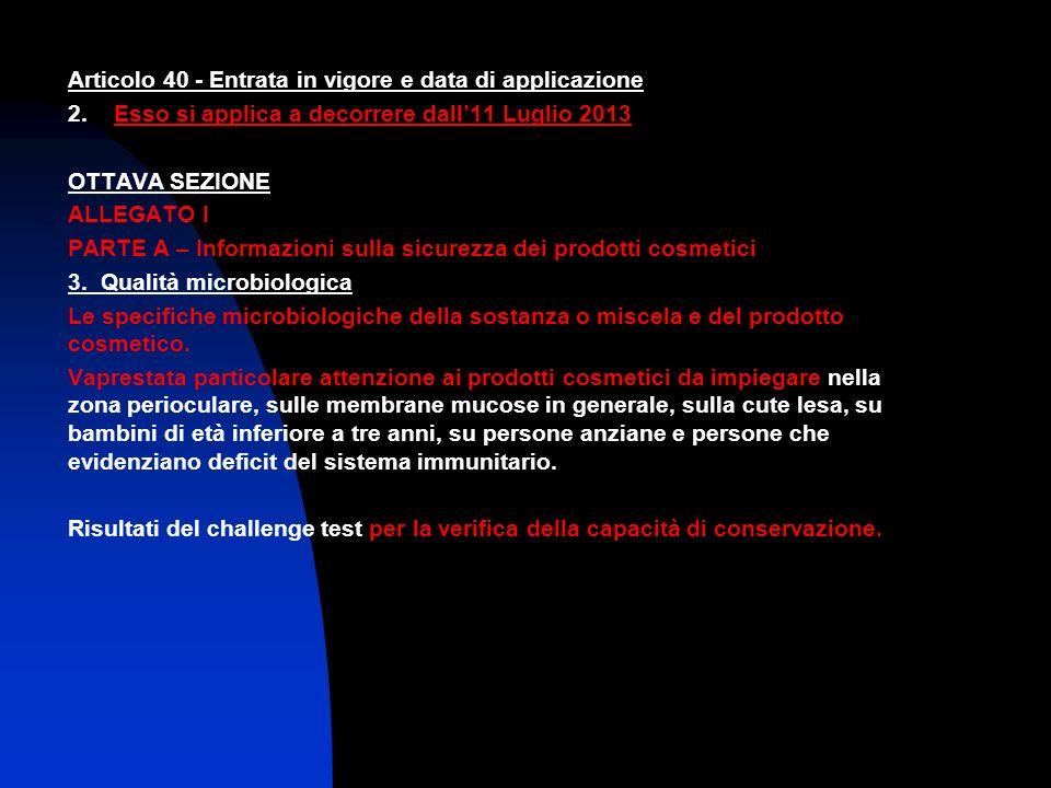 Articolo 40 - Entrata in vigore e data di applicazione 2. Esso si applica a decorrere dall11 Luglio 2013 OTTAVA SEZIONE ALLEGATO I PARTE A – Informazi