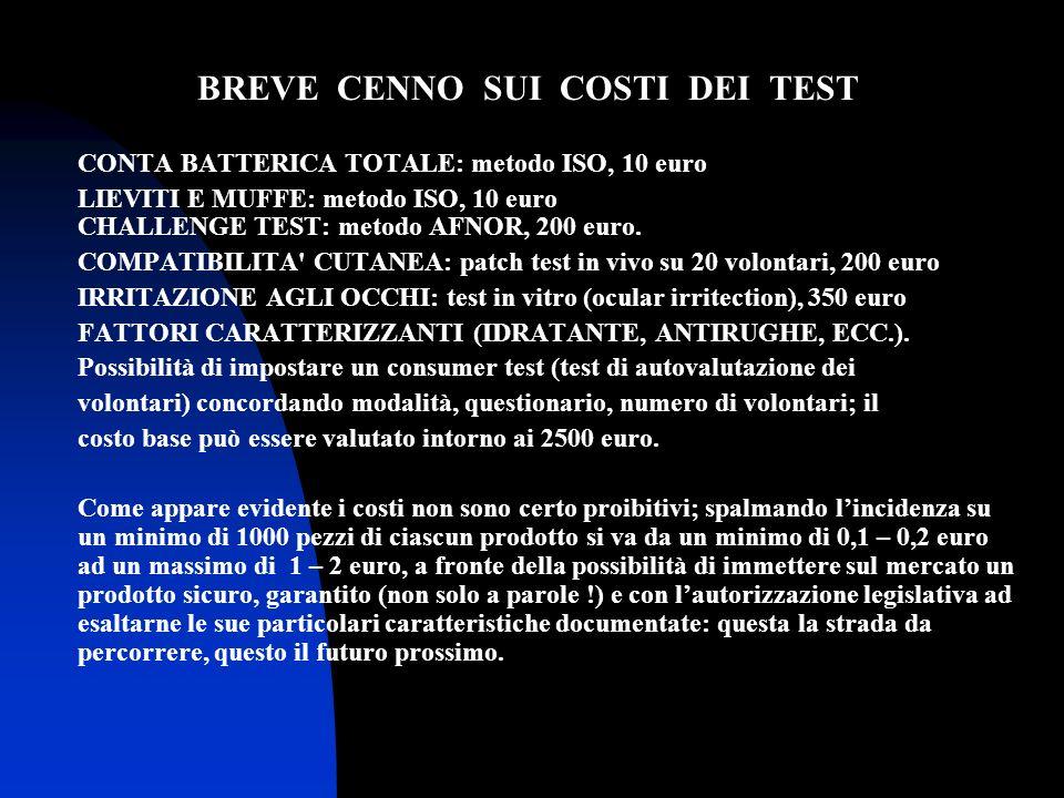 BREVE CENNO SUI COSTI DEI TEST CONTA BATTERICA TOTALE: metodo ISO, 10 euro LIEVITI E MUFFE: metodo ISO, 10 euro CHALLENGE TEST: metodo AFNOR, 200 euro