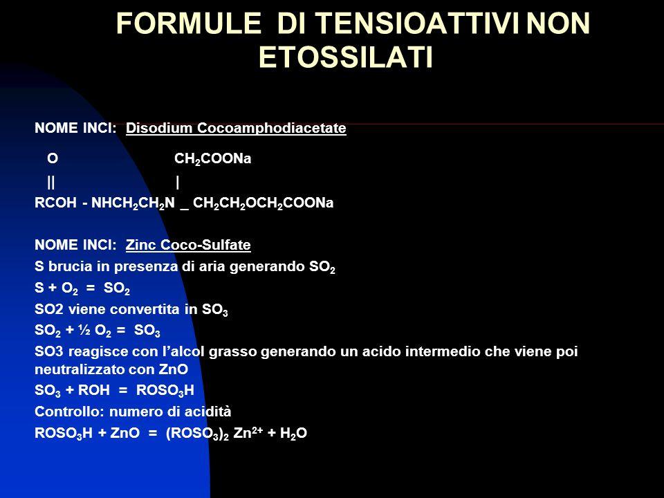 FORMULE DI TENSIOATTIVI NON ETOSSILATI NOME INCI: Disodium Cocoamphodiacetate O CH 2 COONa || | RCOH - NHCH 2 CH 2 N _ CH 2 CH 2 OCH 2 COONa NOME INCI
