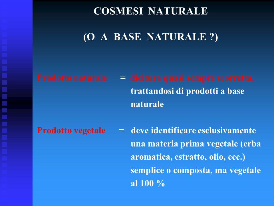 COSMESI NATURALE (O A BASE NATURALE ?) Prodotto naturale = dicitura quasi sempre scorretta, trattandosi di prodotti a base naturale Prodotto vegetale