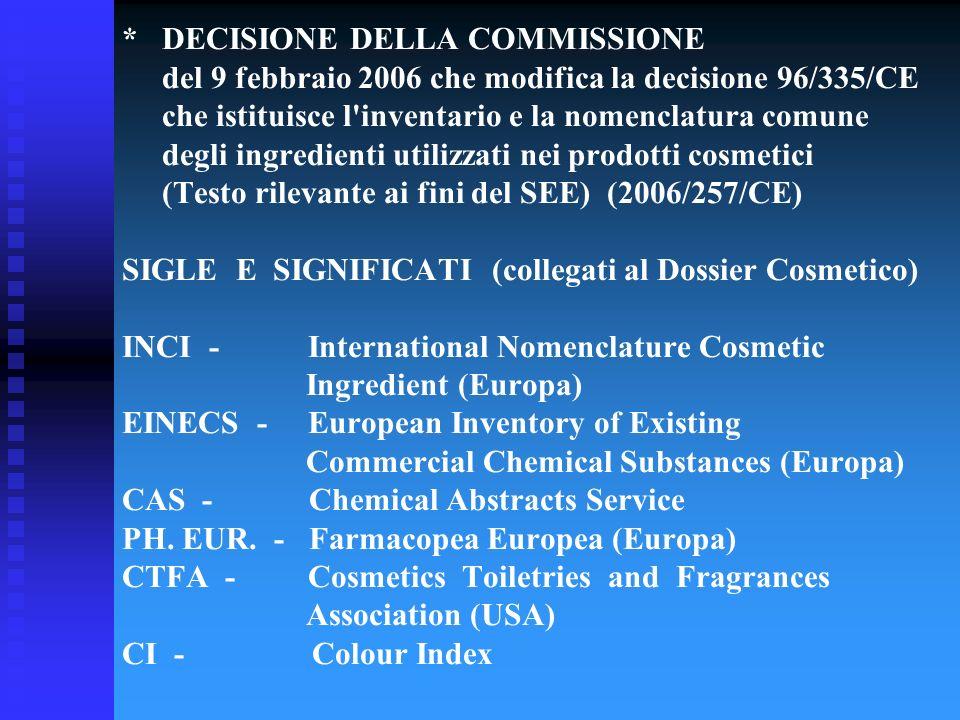 * DECISIONE DELLA COMMISSIONE del 9 febbraio 2006 che modifica la decisione 96/335/CE che istituisce l'inventario e la nomenclatura comune degli ingre