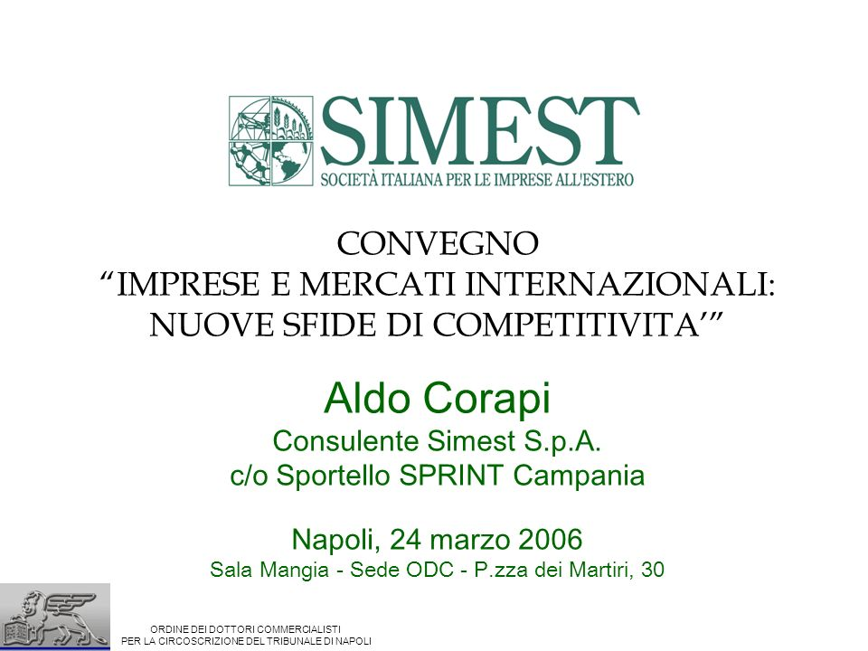CONVEGNO IMPRESE E MERCATI INTERNAZIONALI: NUOVE SFIDE DI COMPETITIVITA Aldo Corapi Consulente Simest S.p.A. c/o Sportello SPRINT Campania Napoli, 24