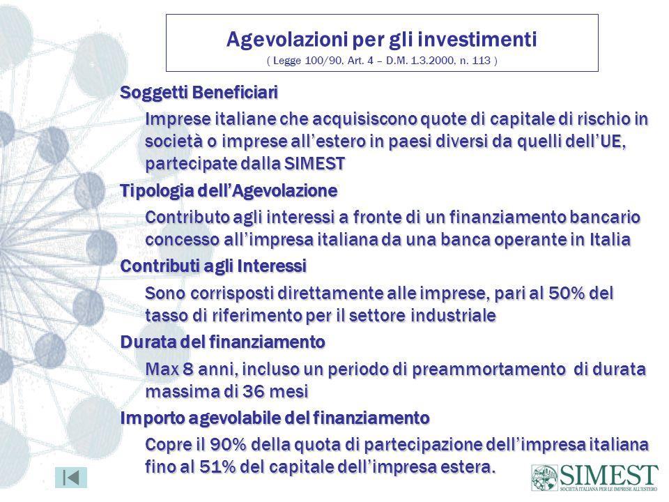 Agevolazioni per gli investimenti ( Legge 100/90, Art.