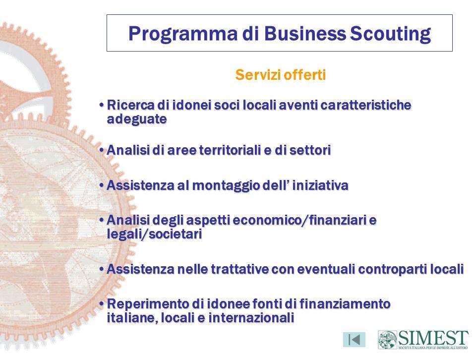 Programma di Business Scouting Servizi offerti Ricerca di idonei soci locali aventi caratteristiche adeguateRicerca di idonei soci locali aventi carat