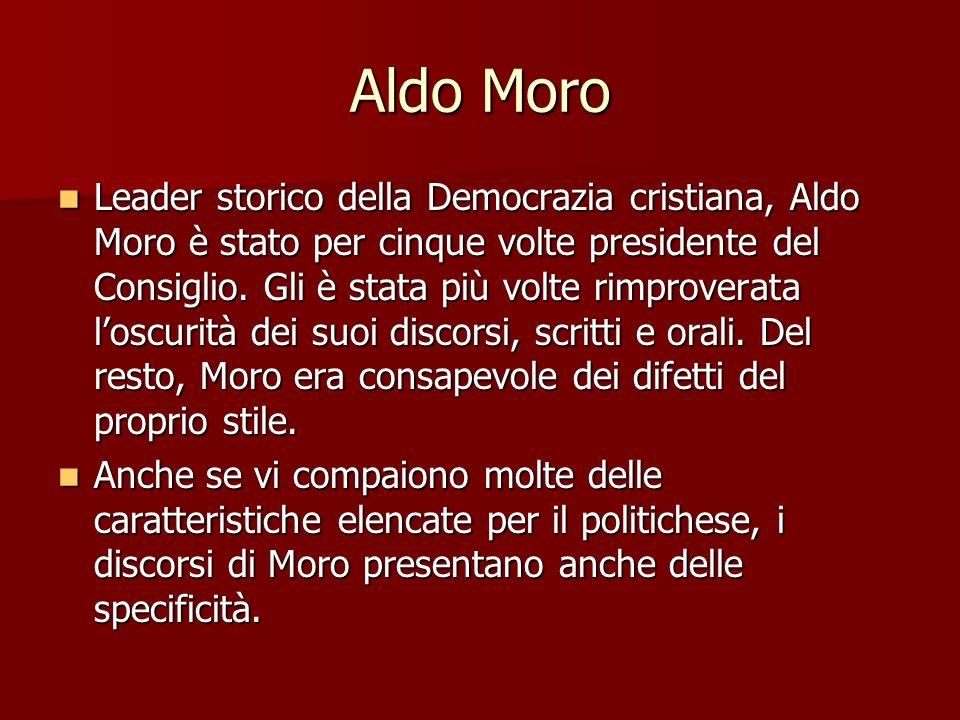 Aldo Moro Leader storico della Democrazia cristiana, Aldo Moro è stato per cinque volte presidente del Consiglio. Gli è stata più volte rimproverata l