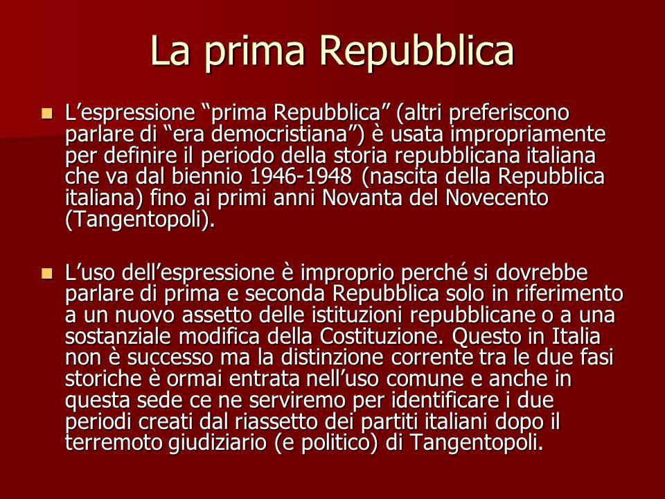 La prima Repubblica Lespressione prima Repubblica (altri preferiscono parlare di era democristiana) è usata impropriamente per definire il periodo del