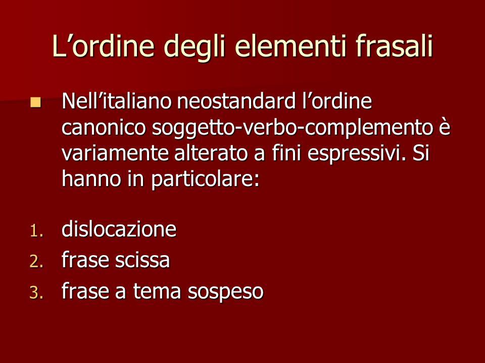 Lordine degli elementi frasali Nellitaliano neostandard lordine canonico soggetto-verbo-complemento è variamente alterato a fini espressivi. Si hanno