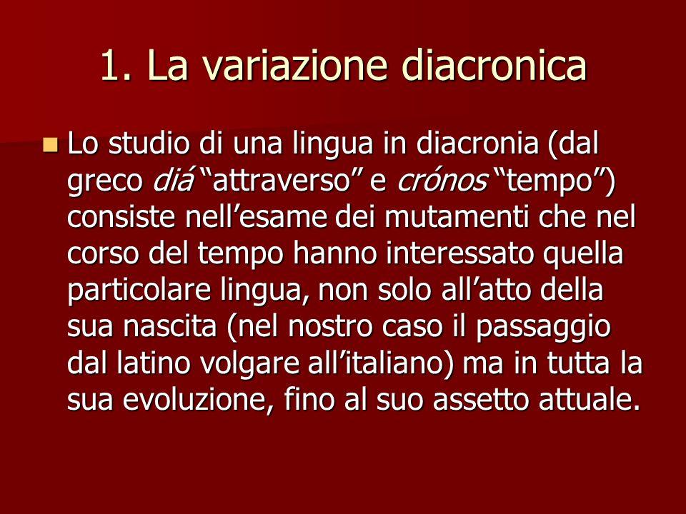 1. La variazione diacronica Lo studio di una lingua in diacronia (dal greco diá attraverso e crónos tempo) consiste nellesame dei mutamenti che nel co