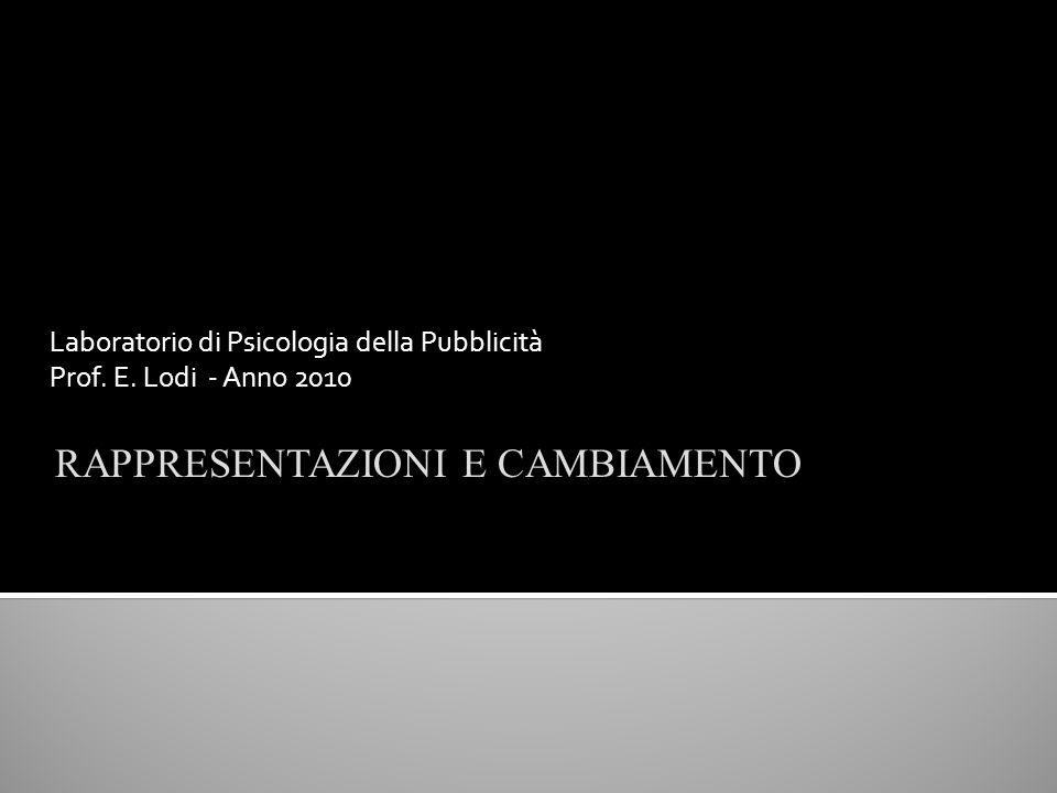 Laboratorio di Psicologia della Pubblicità Prof. E. Lodi - Anno 2010 RAPPRESENTAZIONI E CAMBIAMENTO