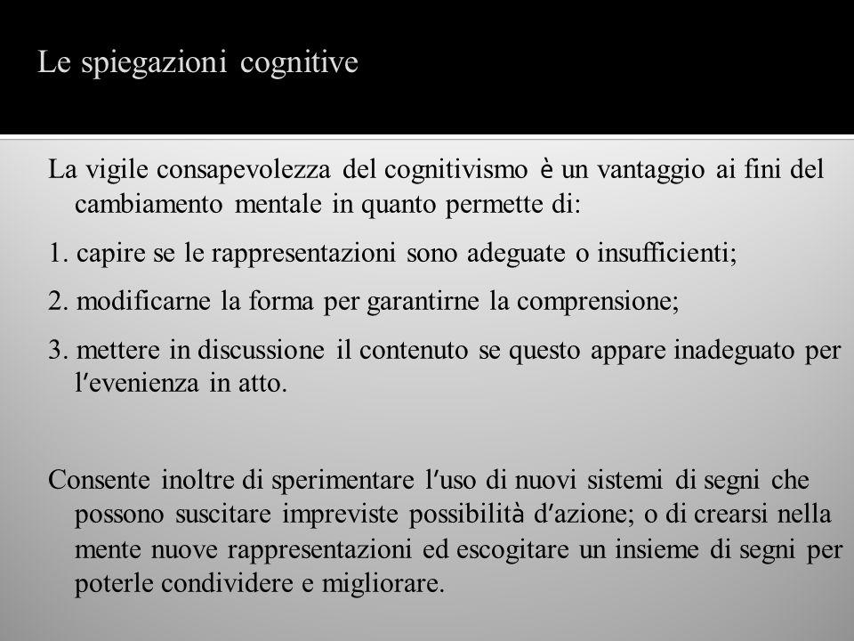 La vigile consapevolezza del cognitivismo è un vantaggio ai fini del cambiamento mentale in quanto permette di: 1. capire se le rappresentazioni sono