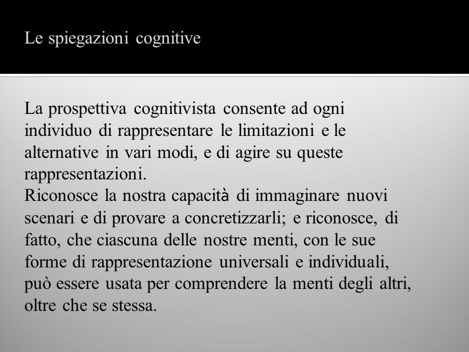 La prospettiva cognitivista consente ad ogni individuo di rappresentare le limitazioni e le alternative in vari modi, e di agire su queste rappresenta