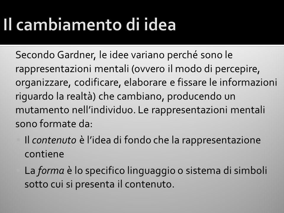 Secondo Gardner, le idee variano perché sono le rappresentazioni mentali (ovvero il modo di percepire, organizzare, codificare, elaborare e fissare le