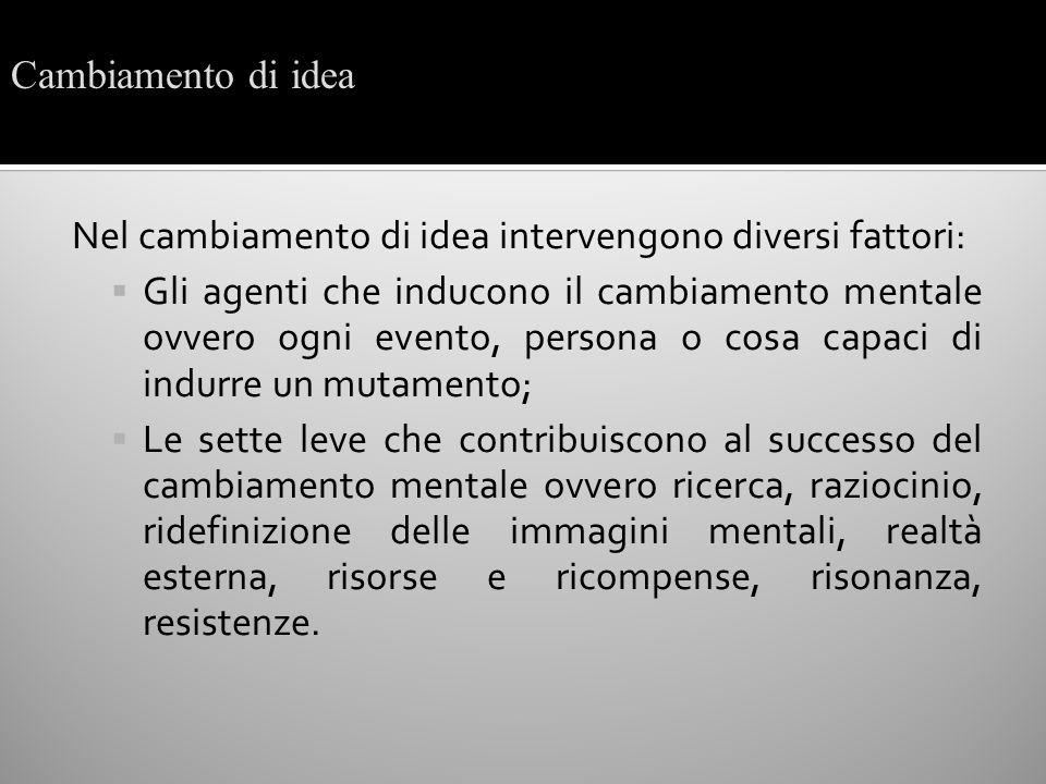 Nel cambiamento di idea intervengono diversi fattori: Gli agenti che inducono il cambiamento mentale ovvero ogni evento, persona o cosa capaci di indu