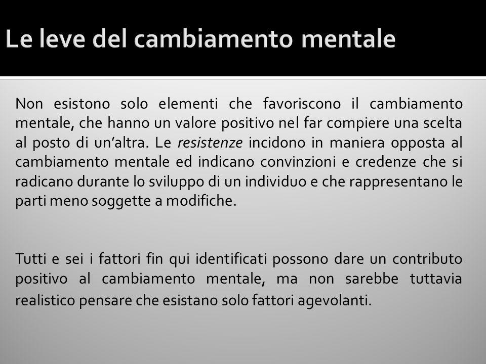 Non esistono solo elementi che favoriscono il cambiamento mentale, che hanno un valore positivo nel far compiere una scelta al posto di unaltra. Le re