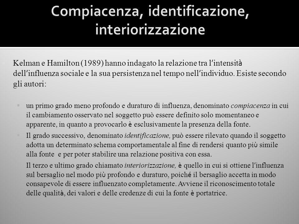 Kelman e Hamilton (1989) hanno indagato la relazione tra l intensit à dell influenza sociale e la sua persistenza nel tempo nell individuo. Esiste sec