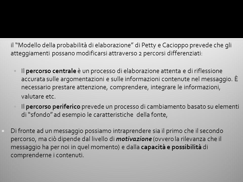 il Modello della probabilità di elaborazione di Petty e Cacioppo prevede che gli atteggiamenti possano modificarsi attraverso 2 percorsi differenziati