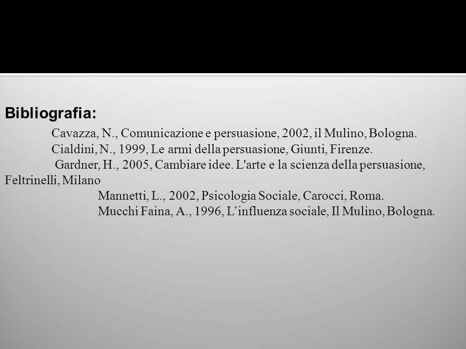 Bibliografia: Cavazza, N., Comunicazione e persuasione, 2002, il Mulino, Bologna. Cialdini, N., 1999, Le armi della persuasione, Giunti, Firenze. Gard