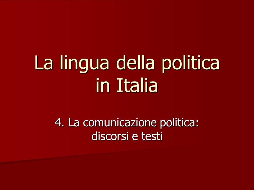 Le forme della comunicazione politica Anche il linguaggio politico assume caratteri diversi in rapporto al canale che veicola il messaggio (diamesia) e alla situazione comunicativa (diafasia).