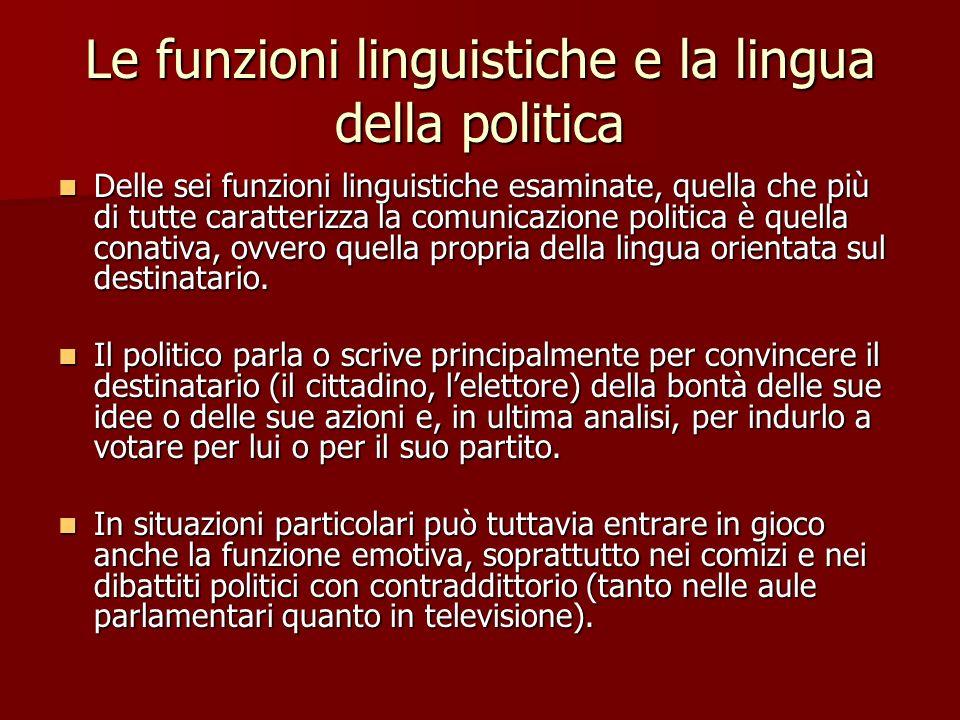 Le funzioni linguistiche e la lingua della politica Delle sei funzioni linguistiche esaminate, quella che più di tutte caratterizza la comunicazione p