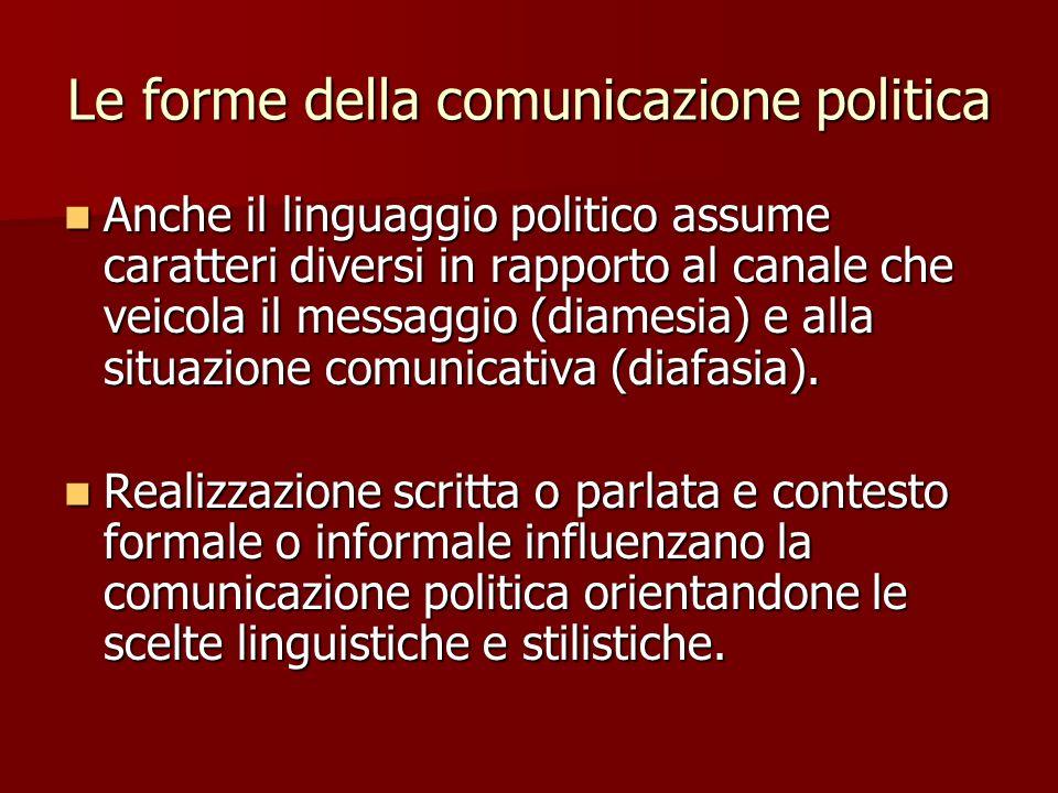 Le forme della comunicazione politica Anche il linguaggio politico assume caratteri diversi in rapporto al canale che veicola il messaggio (diamesia)