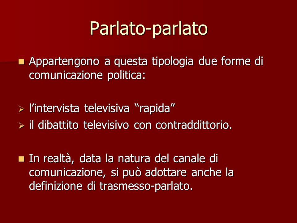 Parlato-parlato Appartengono a questa tipologia due forme di comunicazione politica: Appartengono a questa tipologia due forme di comunicazione politi