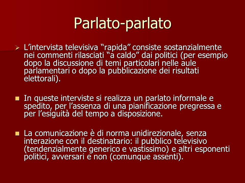 Parlato-parlato Lintervista televisiva rapida consiste sostanzialmente nei commenti rilasciati a caldo dai politici (per esempio dopo la discussione d