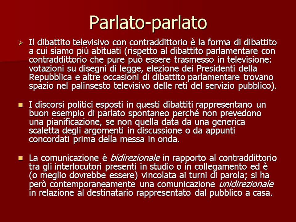 Parlato-parlato Il dibattito televisivo con contraddittorio è la forma di dibattito a cui siamo più abituati (rispetto al dibattito parlamentare con c