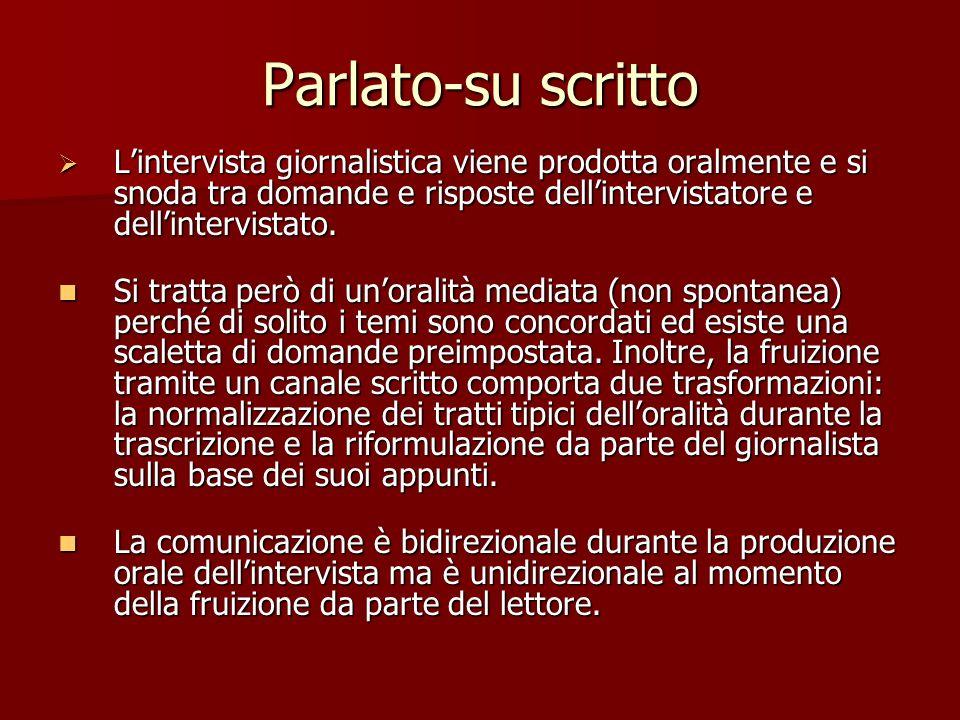 Parlato-su scritto Lintervista giornalistica viene prodotta oralmente e si snoda tra domande e risposte dellintervistatore e dellintervistato. Linterv