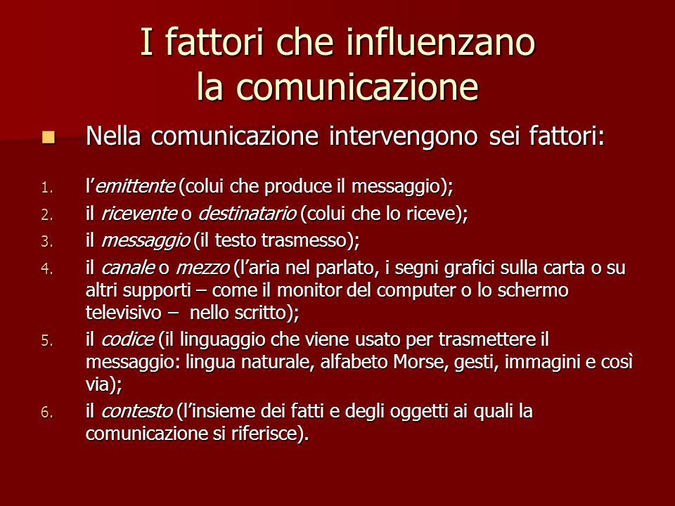 I fattori che influenzano la comunicazione Nella comunicazione intervengono sei fattori: Nella comunicazione intervengono sei fattori: 1. lemittente (