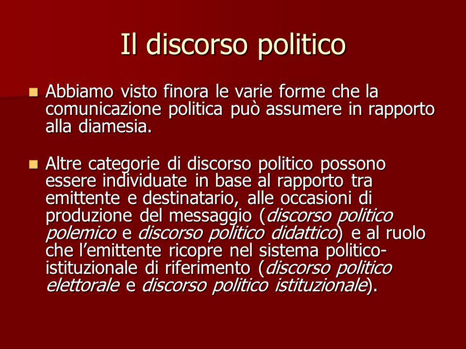 Il discorso politico Abbiamo visto finora le varie forme che la comunicazione politica può assumere in rapporto alla diamesia. Abbiamo visto finora le