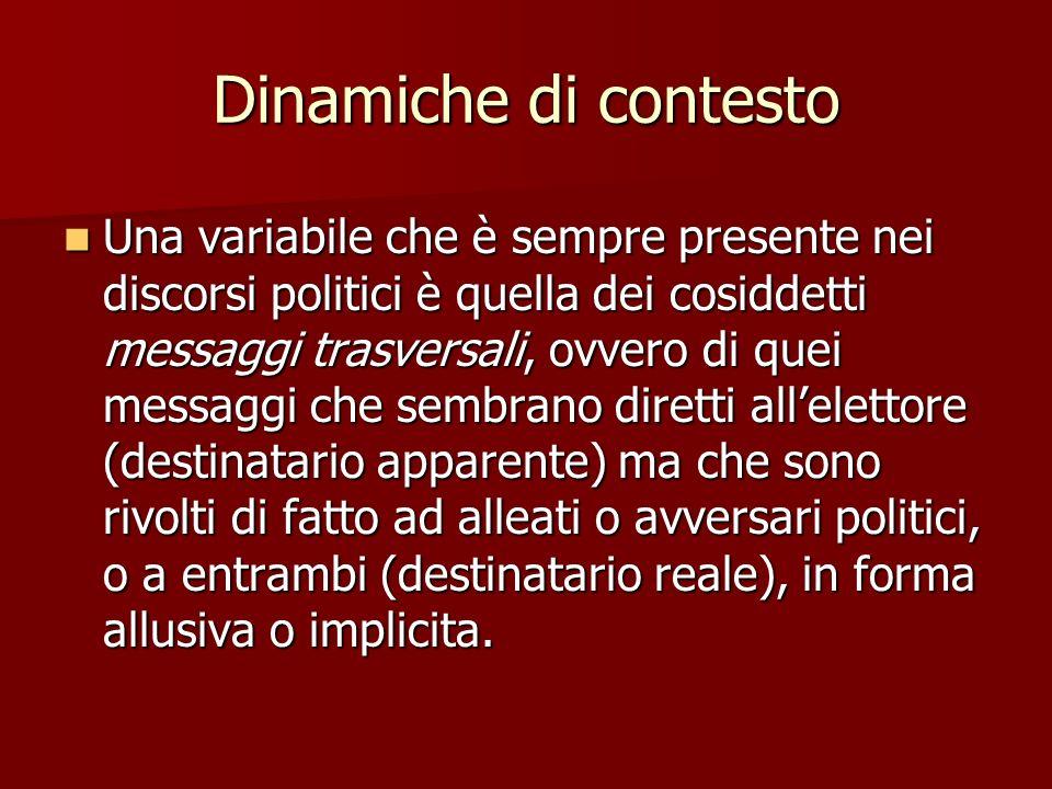 Dinamiche di contesto Una variabile che è sempre presente nei discorsi politici è quella dei cosiddetti messaggi trasversali, ovvero di quei messaggi