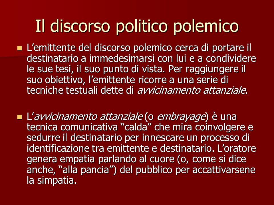 Il discorso politico polemico Lemittente del discorso polemico cerca di portare il destinatario a immedesimarsi con lui e a condividere le sue tesi, i
