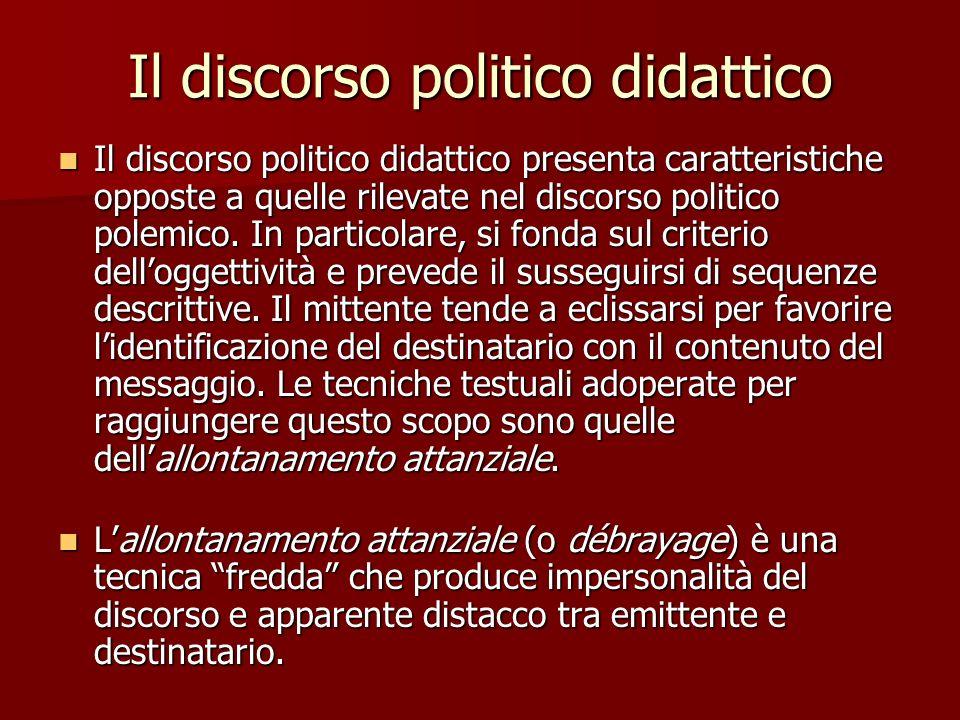 Il discorso politico didattico Il discorso politico didattico presenta caratteristiche opposte a quelle rilevate nel discorso politico polemico. In pa