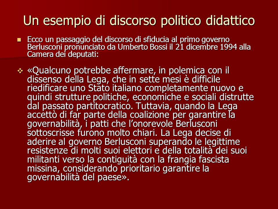 Un esempio di discorso politico didattico Ecco un passaggio del discorso di sfiducia al primo governo Berlusconi pronunciato da Umberto Bossi il 21 di