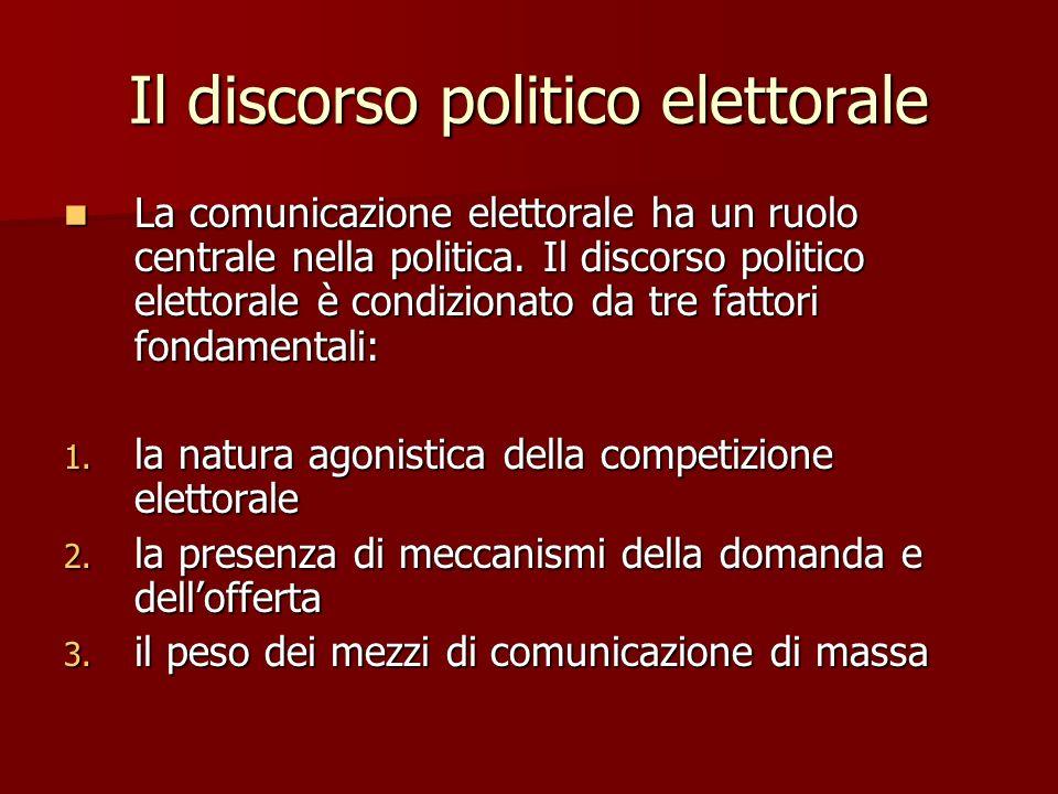 Il discorso politico elettorale La comunicazione elettorale ha un ruolo centrale nella politica. Il discorso politico elettorale è condizionato da tre