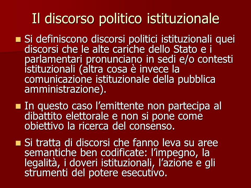Il discorso politico istituzionale Si definiscono discorsi politici istituzionali quei discorsi che le alte cariche dello Stato e i parlamentari pronu